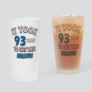 Awesome 93 year old birthday design Drinking Glass