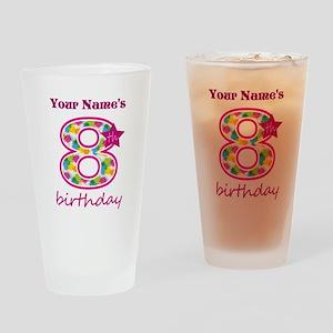 8th Birthday Splat - Personalized Drinking Glass