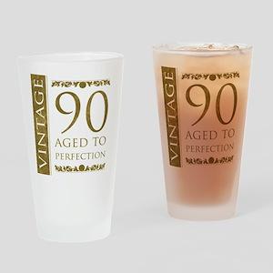 Fancy Vintage 90th Birthday Drinking Glass