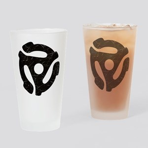 Black Distressed 45 RPM Adapter Drinking Glass