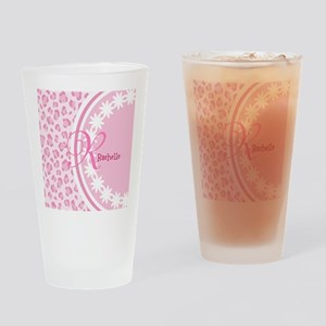 Stylish Pink and White Monogram Drinking Glass