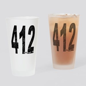 Distressed Pittsburgh 412 Drinking Glass