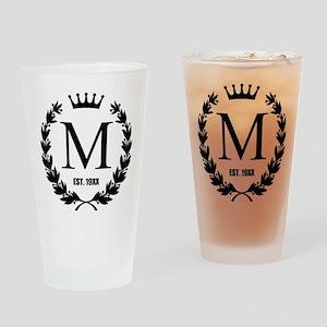 Custom Initial Logo Monogrammed Drinking Glass