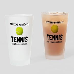 Weekend Forecast Tennis Drinking Glass