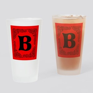 Red Personalized Monogram Initial Drinking Glass