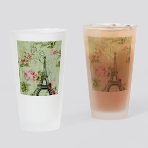 floral vintage paris eiffel tower Drinking Glass