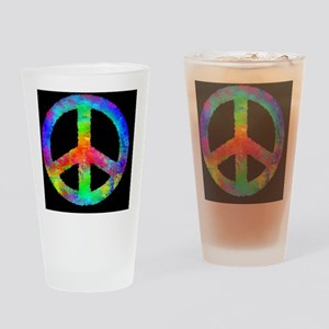 distressedRainbowPeaceB3 Drinking Glass