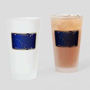 Alaska State License Plate Flag Drinking Glass