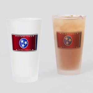 Tennessee State License Plate Flag Drinking Glass