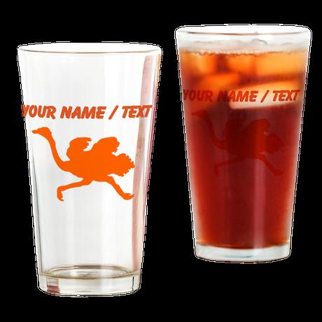 Custom Orange Ostrich Silhouette Drinking Glass