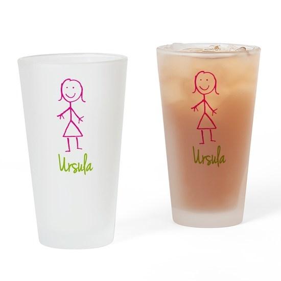 Ursula-cute-stick-girl Drinking Glass