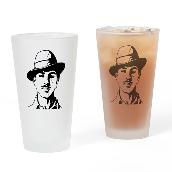 65d37d9ad Bhagat Singh Black and White Sketch Drinking Glass by ShabzDesigns ...