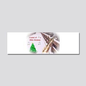 Dulcimers and White Christmas Car Magnet 10 x 3