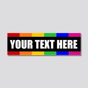 CUSTOM TEXT Rainbow Gay Pride Car Magnet 10 x 3