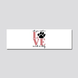 Love And A Dog Car Magnet 10 x 3