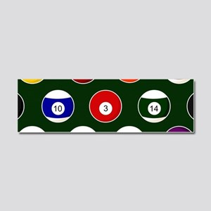 Green Pool Ball Billiards Pattern Car Magnet 10 x