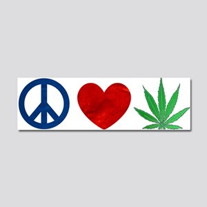 Peace Love Weed Car Magnet 10 x 3
