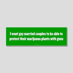 Gay Married Pot Plant Defense Car Magnet 10 x 3