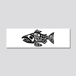 Salmon Native American Design Car Magnet 10 x 3