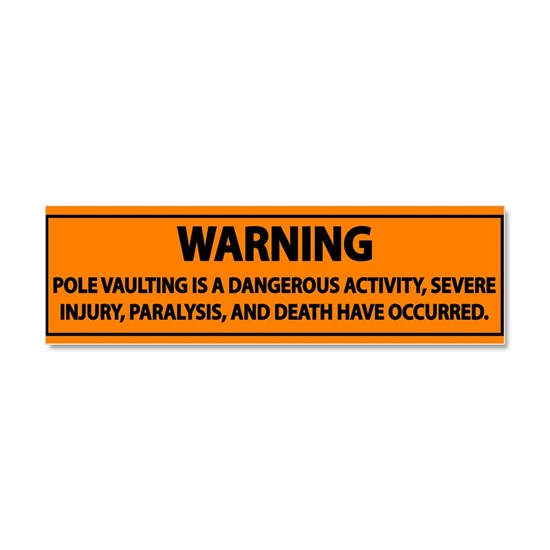 Pole Vault Warning Label