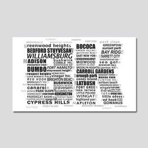 Brooklyn BK Text Art Car Magnet 20 x 12
