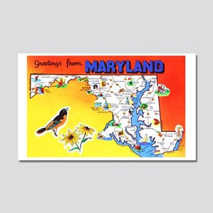 Maryland Map Greetings Car Magnet 20 x 12