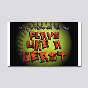 Plays Like A Beast Fastpitch Softball Car Magnet 2
