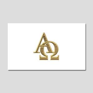 """""""3-D"""" Golden Alpha and Omega Symbol Car Magnet 20"""