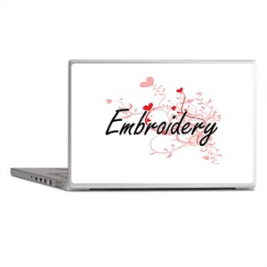 Embroidery Artistic Design with Heart Laptop Skins