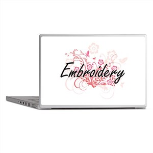 Embroidery Artistic Design with Flowe Laptop Skins