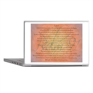Psalm 91 Orange Script Laptop Skins