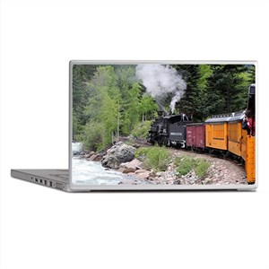 Steam train & river, Colorado Laptop Skins