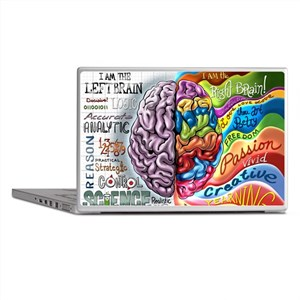 Left Brain Right Brain Cartoon Poster Laptop Skins