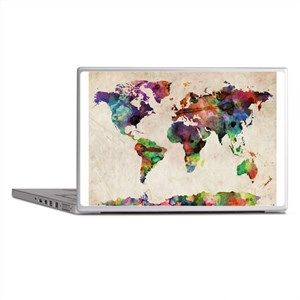 World Map Urban Watercolor 14x10 Laptop Skins