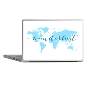 Wanderlust, blue world map Laptop Skins