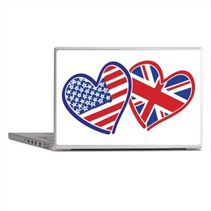 USA and UK Flag Hearts Laptop Skins