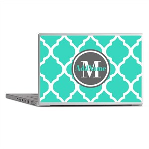 Teal Gray Quatrefoil Pattern Monogram Laptop Skins