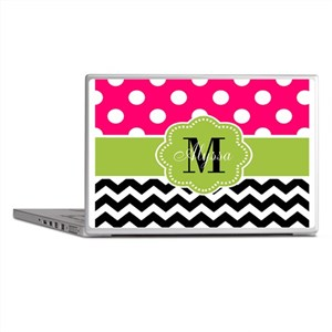 Pink Green Chevron Personalized Laptop Skins