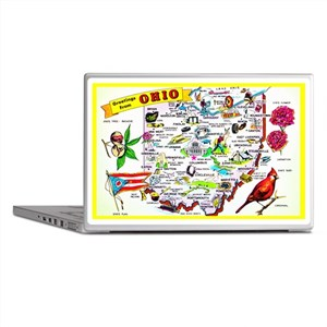 Ohio Map Greetings Laptop Skins