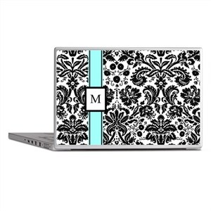 Aqua Black Damask Monogram Laptop Skins