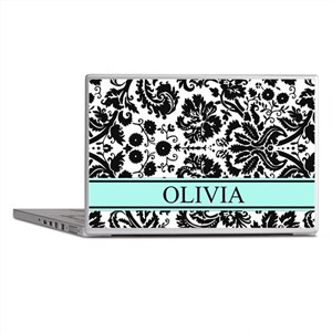 Aqua Black Damask Custom Name Laptop Skins