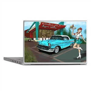 57 Chevy with Car Hop Girl Laptop Skins