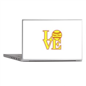 Personalized Love Softball Laptop Skins