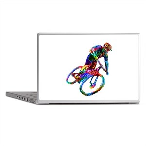 Technicolor Mountain Biker Racing Dow Laptop Skins