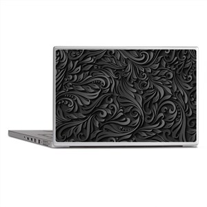 Black Flourish Laptop Skins