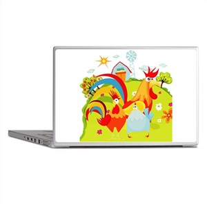 Rooster and Chicken on Farm Laptop Skins