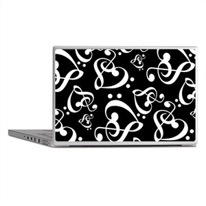 Black And White Music Hearts Laptop Skins