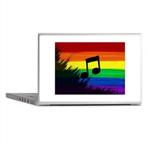 Musical note gay rainbow art Laptop Skins