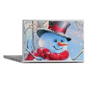 Snowman in the Woods Laptop Skins