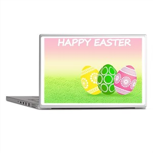 Happy Easter Pretty Eggs on Grass Laptop Skins